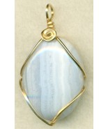 Blue Lace Agate Gold Wire Wrap Pendant 43 - $23.95