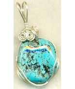 Turquoise Silver Wire Wrap Pendant 38 - $54.98