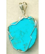 Turquoise Silver Wire Wrap Pendant 16 - $25.99
