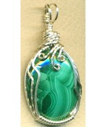 Malachite Silver Wire Wrap Pendant 2 - $54.98