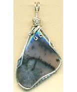 Amethyst Sage Agate Silver Wire Wrap Pendant 24 - $54.98