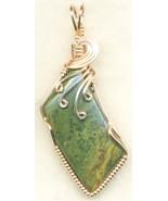 Green Jasper Copper Wire Wrap Pendant 43 - $27.93