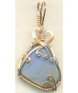 Australian Opal Copper Wire Wrap Pendant 54 - $19.55