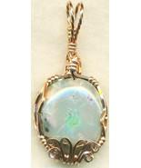 Australian Opal Copper Wire Wrap Pendant 65 - $19.55