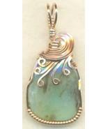 Peruvian Blue Opal Copper Wire Wrap Pendant 40 - $19.55