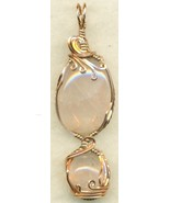 Rose Quartz Copper Wire Wrap Pendant 14 - $27.93