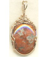 Poppy Jasper Copper Wire Wrap Pendant 55 - $27.93