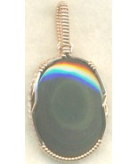 Rainbow Obsidian Copper Wire Wrap Pendant 51 - $27.93