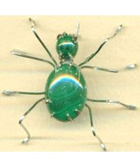 Malachite Spider Stainless Steel Wire Wrap Broo... - $15.99