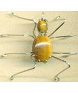 Tigereye Spider Stainless Steel Wire Wrap Brooc... - $15.99