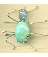 Turquoise Spider Stainless Steel Wire Wrap Broo... - $15.99