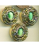 Green Cateye Beaded Button Covers 4 - $9.97
