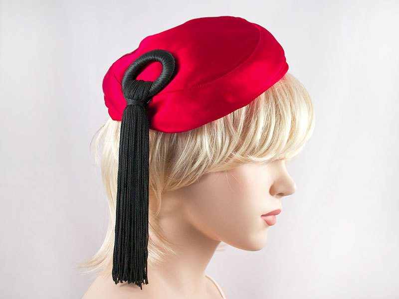 Vintage Red Satin Fascinator Hat with Black Tassel Spring Wedding Formal Easter