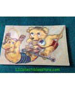 BEARS on TRAPEZE Moveable Eyes SQUEEZE SQUEAK Postcard