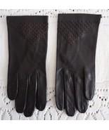 70s Dk brown kid women short gloves 6 1/2 vintage - $15.68