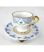 Limoges Box - Chamart Blue Floral & Gold Tea Cu... - $70.00