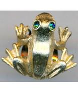 Gold Tone Green Eyed Frog Pin - $2.73