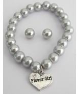 Bracelet & Stud Earrings Set Gray Pearls Flower... - $16.63