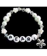 Baby Girl Name Bracelet White Pearls Flower Bea... - $11.43