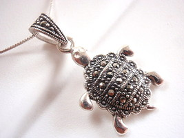 Marcasite Turtle Necklace 925 Sterling Silver C... - $18.80