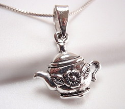 Tea Pot Kettle Necklace Sterling Silver with Fl... - $15.83