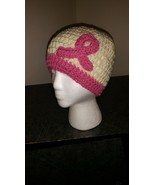 Breast Cancer Awareness Crochet Hat/Beige & Pink  - $20.00