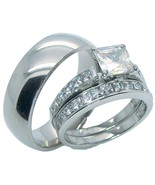 3 Pieces His & Hers Stainless Steel & Titanium ... - $38.99