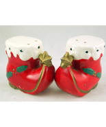 Vintage ceramic Christmas Santa elf boot salt p... - $12.00