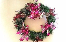 Silver and Pink Christmas Bell Wreath 16