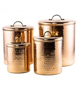 Hammered Copper Canister Set 4 Pc Kitchen Count... - £59.02 GBP