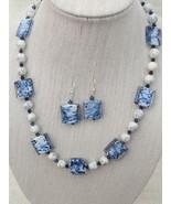 Navy White Lampwork Necklace Earrings Swarovski... - $42.99