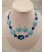 Howlite Necklace Earrings Turquoise Pendant Han... - $42.99