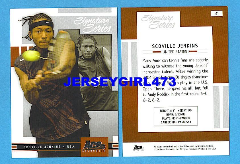 Scoville Jenkins 2005 Ace Authentic Signature Series Tennis Card #41