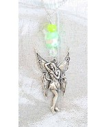 Enchanting Jade & Art Glass Silvery Fairy Pend... - $21.95