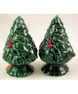 Vintage Lefton green holly Christmas tree salt ... - $15.00