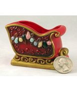 Vintage Napco red ceramic Christmas sleigh cand... - $12.00