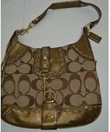 Coach Hamptons Signature Hobo Handbag Purse Gol... - $89.09