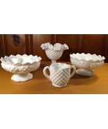 Vintage Fenton Milk Glass Hobnail Lot Of 4 - $32.00