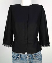 KAY UNGER NY black silk shantung fitted jacket ... - $52.00
