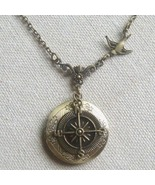 Handmade ROUND LOCKET PENDANT & SWALLOW & COMPA... - $14.99