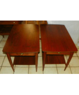 Pair of Walnut Mid Century End Tables / Side Ta... - $499.00