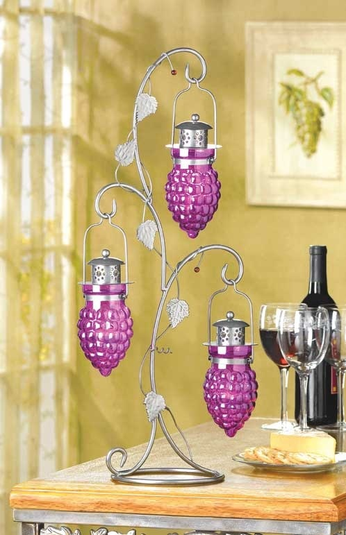 Candle Holder Hanging Grapes Ivy Leaf Iron Tree Votive  Tea Light Glass Cups