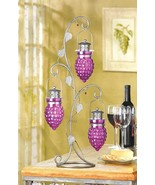 Candle Holder Hanging Grapes Ivy Leaf Iron Tree Votive or Tea Light Glass Cups - $27.00