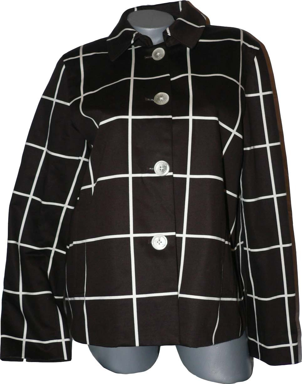 New RALPH LAUREN coat jacket brown plaid Luxe L $199