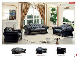 Chic Traditional Full Italian Leather Sofa Set Contemporary Design