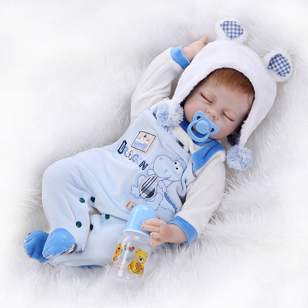 2016 New 22 Quot Real Life Reborn Sleeping Baby Silicone Boy