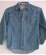 Levis Blue Denim Shirt Boys Girls 6 6X Jean Red... - $6.93