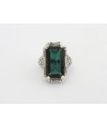 Vintage Sterling Silver Emerald Filigree Ring S... - $60.00