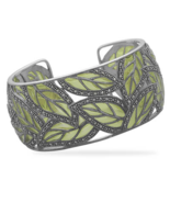 Marcasite and Green Epoxy Leaf Design Cuff Brac... - $659.99
