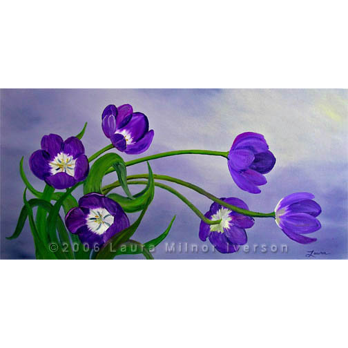 Purple Tulips Gray Flowers Spring Floral Original Oil Painting Impressionist Art